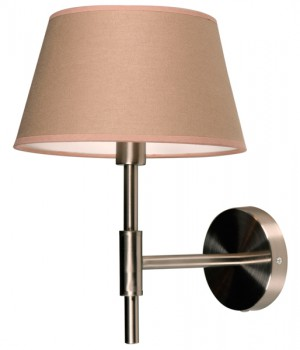 Wandlampe Nickel-satiniert mit eine Lampenschirm Farbe Sand, Wandlampe mit Lampenschirm