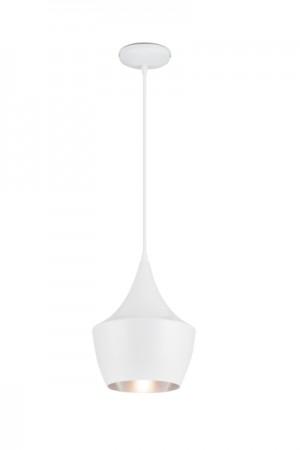 Hängelampe, Hängeleuchte Farbe Weiß-Silber, Pendelleuchte, Durchmesser 24 cm