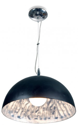 Moderne Pendelleuchte aus Polyester, Farbe schwarz-silber, Ø 55 cm