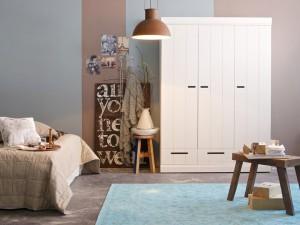 Kleiderschrank weiß, Schrank weiß für Kinderzimmer, Breite 140 cm