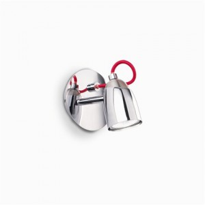 Decken-/ Wandleuchte Metall chrom, Stoff rot, beliebig einstellbar
