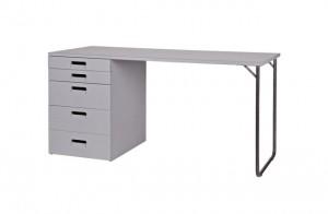 Tisch grau Holz, Schreibtisch grau, Schreibtisch Massivholz grau