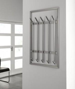 Wandgarderobe, moderne Garderobe mit 10 Haken, Edelstahl, Höhe 100 cm
