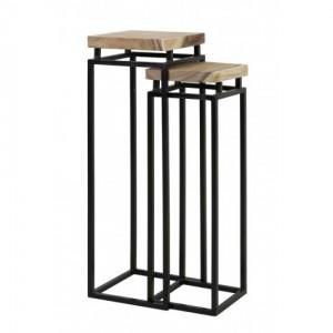Säule Metall 2er Set, Dekosäule Metall Holz, Höhe 95-107 cm