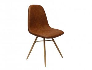 Design Stuhl in cognac Industriestil Beine Buchenlook