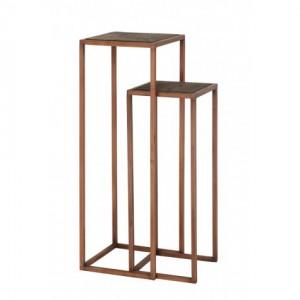 Säule Kupfer Metall 2er Set, Dekosäule Kupfer Metall, Beistelltisch Metall Holz, Höhe 100 cm