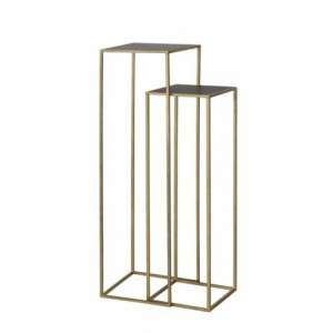 Säule Gold Metall Glas 2er Set, Dekosäule Metall, Höhe 120 cm
