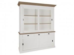 Vitrinenschrank weiß,  Wohnzimmerschrank im Landhausstil, Breite 196 cm