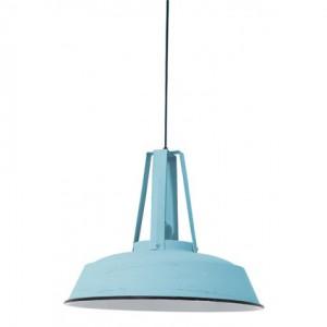 Hängelampe hellblau im Industriedesign, Pendelleuchte Landhausstil, Durchmesser 42 cm