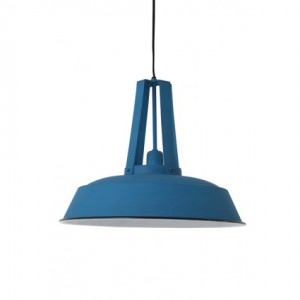 Hängeleuchte blau im Industriedesign, Pendelleuchte hellblau, Durchmesser 42 cm