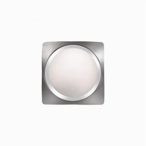 Decken-/ Wandleuchte Metall chrom nickel, Glas weiß