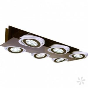 LED Deckenaufbauleuchte aus Acrylglas, Metall in matt-silber, schwarz, einstellbar