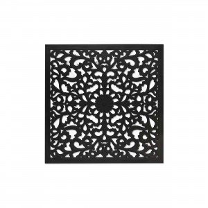 Bild Ornament schwarz, Wandbild Bild-Ornament schwarz, Maße 90x90 cm