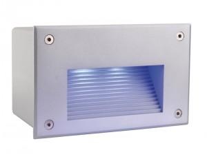 LED Outdoorwandeinbauleuchte aus Aluminium, PVC, matt-silber, IP65, RGB