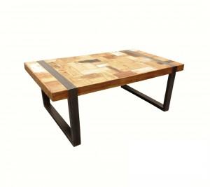 Couchtisch Industriedesign, Tisch Metall Holz, Länge 120 cm
