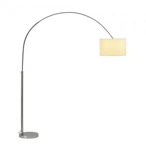 Bogenstehleuchte verchromt mit weißen Lampenschirm, Bogenlampe Höhe 227 cm