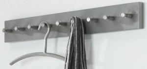 Wandgarderobe aus Edelstahl, Garderobe mit 9 Haken, moderne Garderobenleiste,  Breite 80 cm