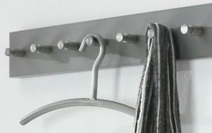 Wandgarderobe aus Edelstahl, Garderobe mit 7 Haken, moderne Garderobenleiste, Breite 60 cm