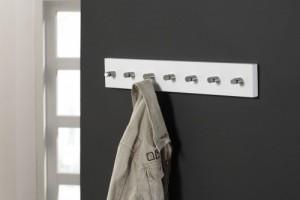 Wandgarderobe weiß, Garderobe mit 7 Haken aus Edelstahl, Breite 60 cm