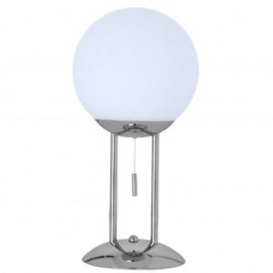 Tischleuchte Metall chrom Glaskugel weiß modern
