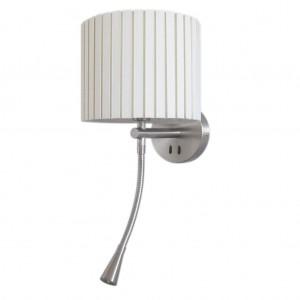 Wandleuchte Metall satin Textilschirm weiß modern LED + Leseleuchte