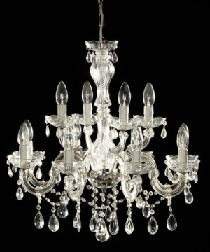 Klassischer Kronleuchter aus Glas, 12 Flammig, Farbe chrom transparent