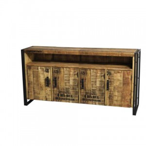 Sideboard Akazienholz, rustikaler Kontor-Möbel vier Türen