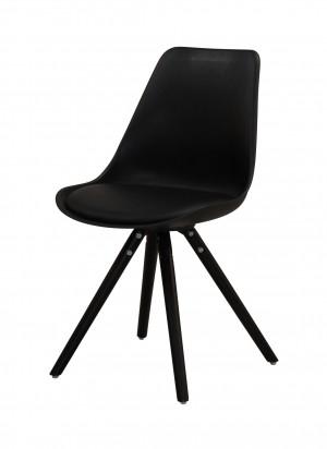 Stuhl gepolstert mit einem Gestell aus Massivholz, Stuhl schwarz
