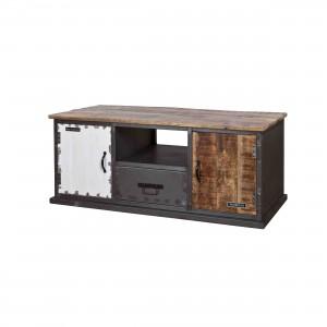 Lowboard - Fernsehschrank im Industriedesign, TV Schrank aus Metall, Holz schwarz-weiß, Breite 130 cm