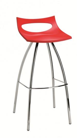 Design Barhocker, Farbe rot, Sitzhöhe 80 cm