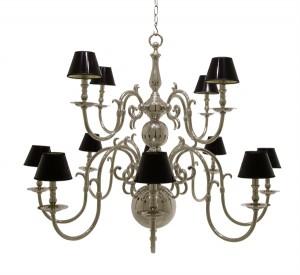 Kronleuchter verchromt 12 flammig mit schwarzen Lampenschirmen, Ø 135 cm