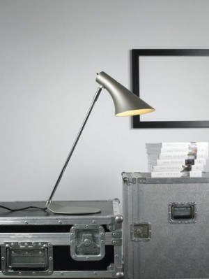 Tischleuchte Metall chrom grau, modern