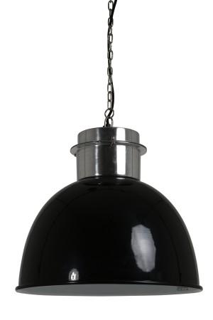 Pendelleuchte im Industriedesign, Hängeleuchte Schwarz-Silber, Durchmesser 50 cm