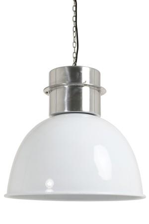Pendelleuchte im Industriedesign, Hängeleuchte Weiß-Silber, Durchmesser 50 cm