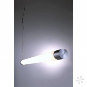 LED Pendelleuchte aus Aluminium, Glas, weiß, silber, höhenverstellbar