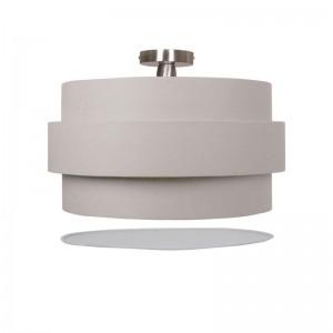 Deckenleuchte mit Blende, Textil, PVC, Metall in beige/ grau, Ø 60 cm