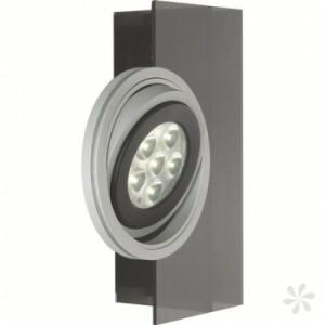 LED Wandleuchte aus Acrylglas, Aluring in schwarz, matt-silber, schwenkbar