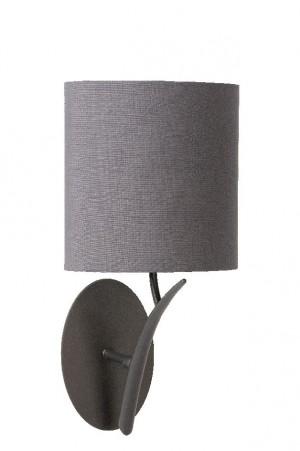 Wandleuchte aus Metall schwarz, Stoffschirm grau, klassisch, Landhausstil