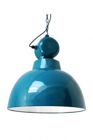 Pendelleuchte Fabrikart, Industriedesign Lampe, Farbe türkis-blau, Ø 50 cm