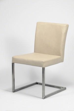 Stuhl gepolstert , Freischwinger Kunstleder, creme