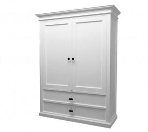 Weißer Kleiderschrank aus massiv Holz mit zwei Türen und zwei Schubladen