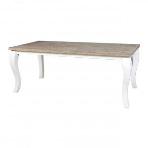 Esstisch im Landhausstil aus Massivholz, Tisch weiß - braun, Länge 220 cm