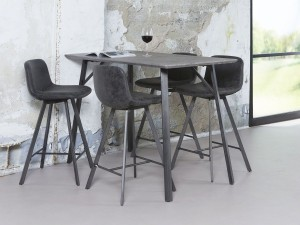 Bartisch grau im Industriedesign,  Bartisch Metall grau, Höhe 92 cm