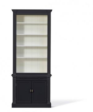 Bücherschrank schwarz, Bücherschrank Landhausstil, Breite 100 cm