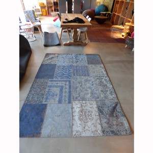 Teppich Patchwork Blau, Größe 200 x 300 cm