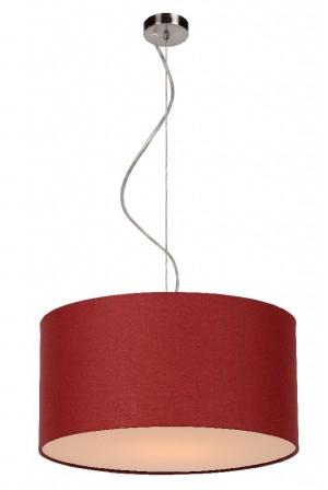 Pendelleuchte aus Metall, Baumwolle rot/ bordeaux, modern, Ø 40 cm