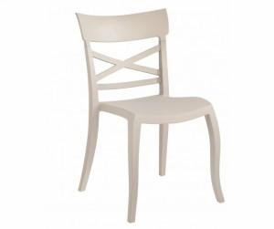 Gartenstuhl beige stapelbar, Stuhl Outdoor beige Kunststoff