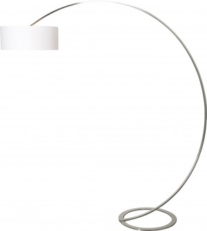 Design Bogenleuchte Edelstahl gebürstet mit einem Lampenschirm, Stehleuchte mit eine Höhe 215 cm