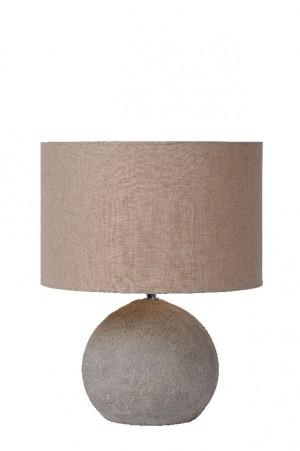 Tischleuchte aus Beton, Leinenschirm in taupe, Design Stil