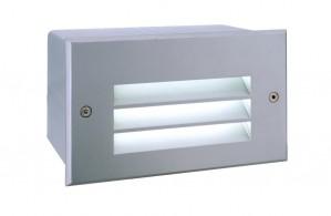 LED Outdoorwandeinbauleuchte aus Aluminium, PVC, matt-silber, 6000K